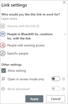 Image of link settings when sharing documents from a document library.