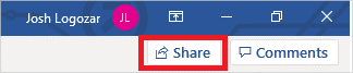 Image of the share button using OneDrive.