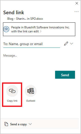 Image of the share pop-up options in Microsoft OneDrive.