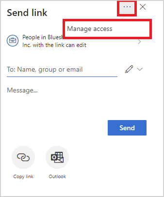 Image of the manage access option when sharing a file in OneDrive.