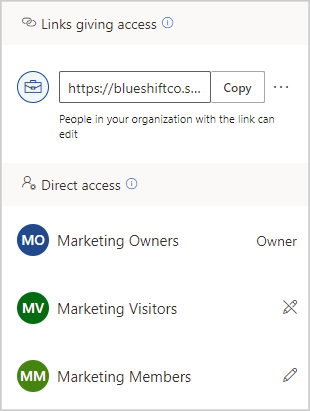 Image of who currently has access to a shared document in OneDrive.