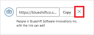 Image of disabling an existing link to a shared file in OneDrive.