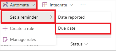Image of setting an automated reminder in Power Automate.