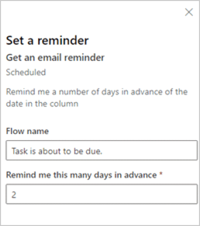 Image of setting a reminder in Power Automate.