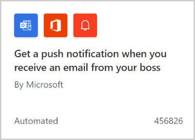 """Image of a flow template for """"Get a push notification when you receive an email from your boss""""."""