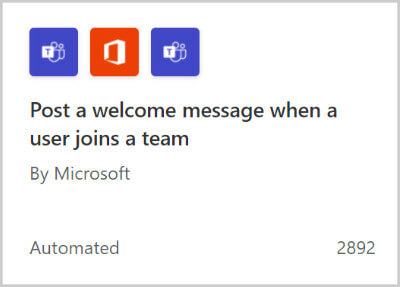 """Image of a flow template for """"Post a welcome message when a user joins a team""""."""