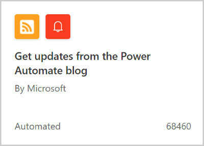 """Image of a flow template for """"Get updates from the Power Automate blog""""."""