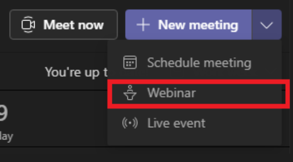 Image of how to start a webinar in Microsoft Teams.