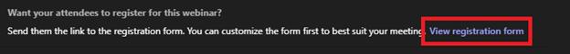 Image of the webinar registration form link in Microsoft Teams.