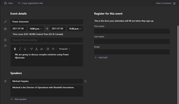 Image of the webinar event details screen in Microsoft Teams.