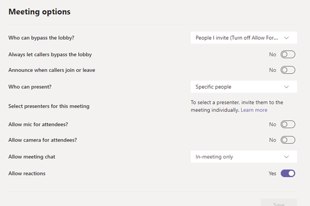 Image of the Meeting Options screen in Microsoft Teams.