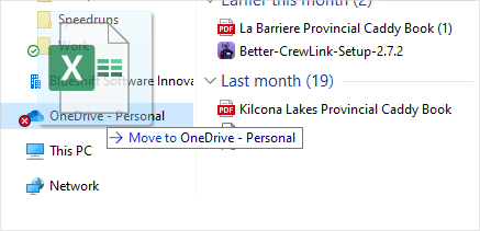 Image of dragging a file into a OneDrive folder.