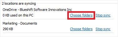 Image of the settings menu in OneDrive highlighting the 'Choose folders' link.
