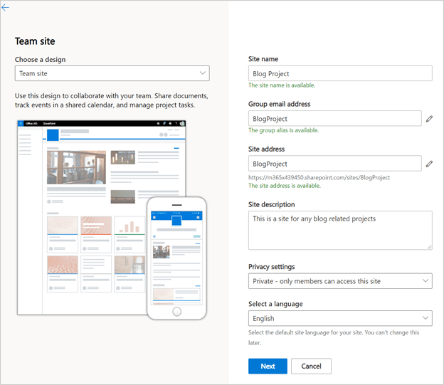 Image of the 'Team Site' options for a new site in Microsoft SharePoint.