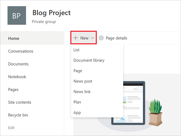 Image of the 'New' button in Microsoft SharePoint.
