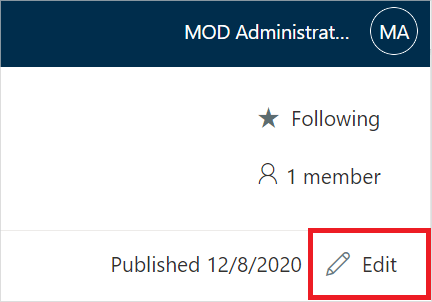 Image of the 'Edit' button in Microsoft SharePoint.
