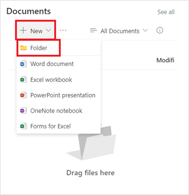 Image of adding a new folder into a SharePoint site in Microsoft SharePoint.