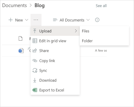 Image of uploading a file into a Document Library in Microsoft SharePoint.