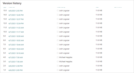Image of the version history of a document saved in SharePoint.