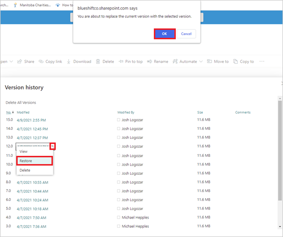Image of restoring a document's previous version in SharePoint.