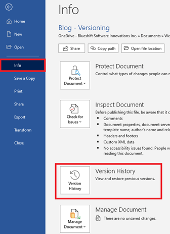 Image of Version History in Microsoft Word.