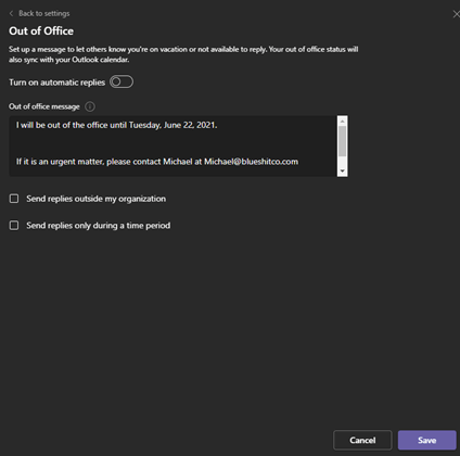 Image of scheduling Out of Office status options in Microsoft Teams.