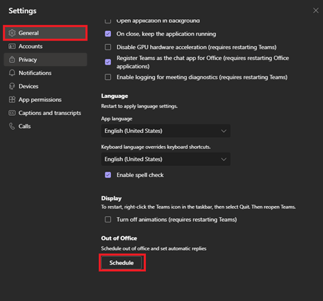 Image of setting up out of office status through settings in Microsoft Teams.