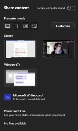 Image of the share content options in Microsoft Teams.