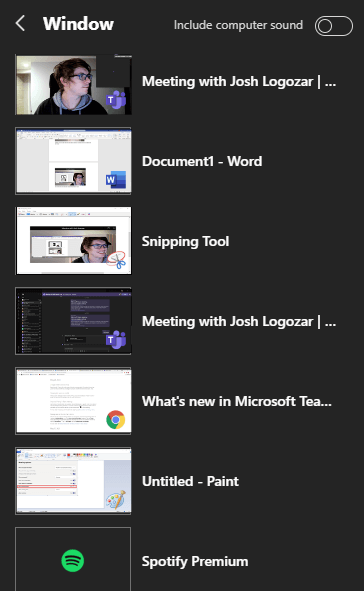 Image of the 'Window' panel in Microsoft Teams.