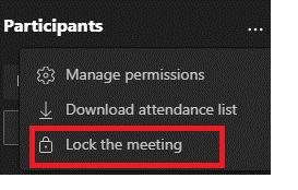 Image of 'Lock the meeting option in Microsoft Teams.