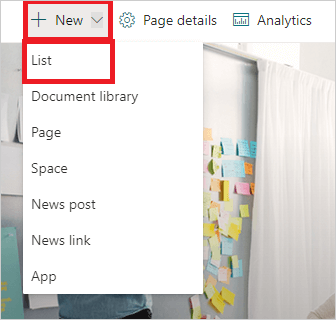 Image of creating a new list in a SharePoint Site.