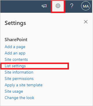Image of the List Settings menu in a SharePoint Site.
