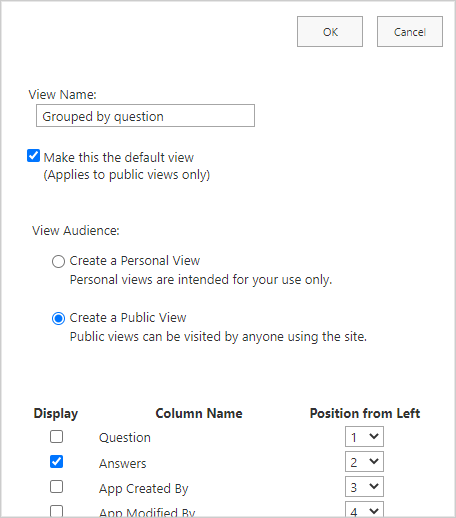 Image of 'Group by' list settings in a SharePoint Site.