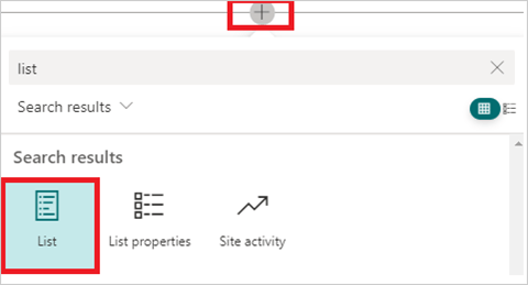 Image of adding the 'List' webpart in a SharePoint Site page.