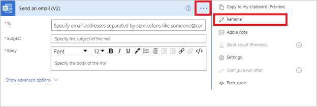 Image of renaming an action in Power Automate.