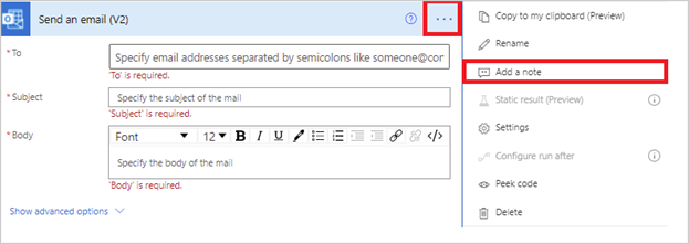 Image of adding a note to an action in Power Automate.