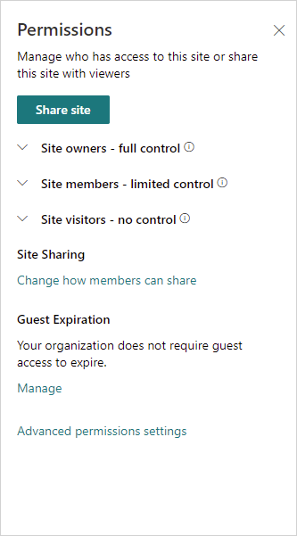 Image of the Site Permissions menu in SharePoint Online.
