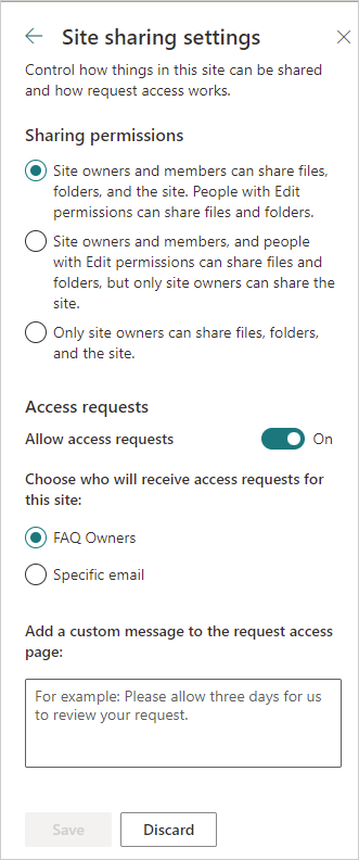 Image of the Site Sharing Settings menu in SharePoint Online.
