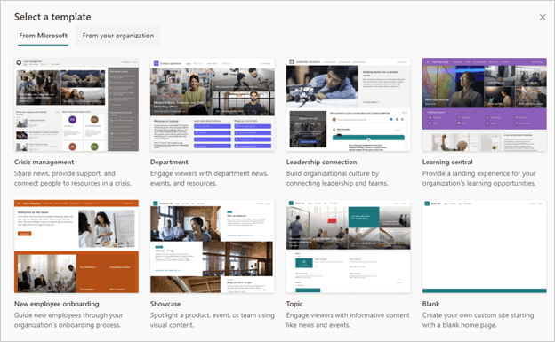 Image of the Site Template options in SharePoint Online.
