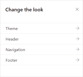Image of the Change the Look menu in SharePoint Onliine.