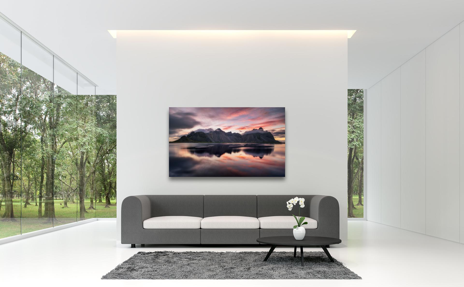 Acrylic print of Vestrahorn Iceland in modern living room