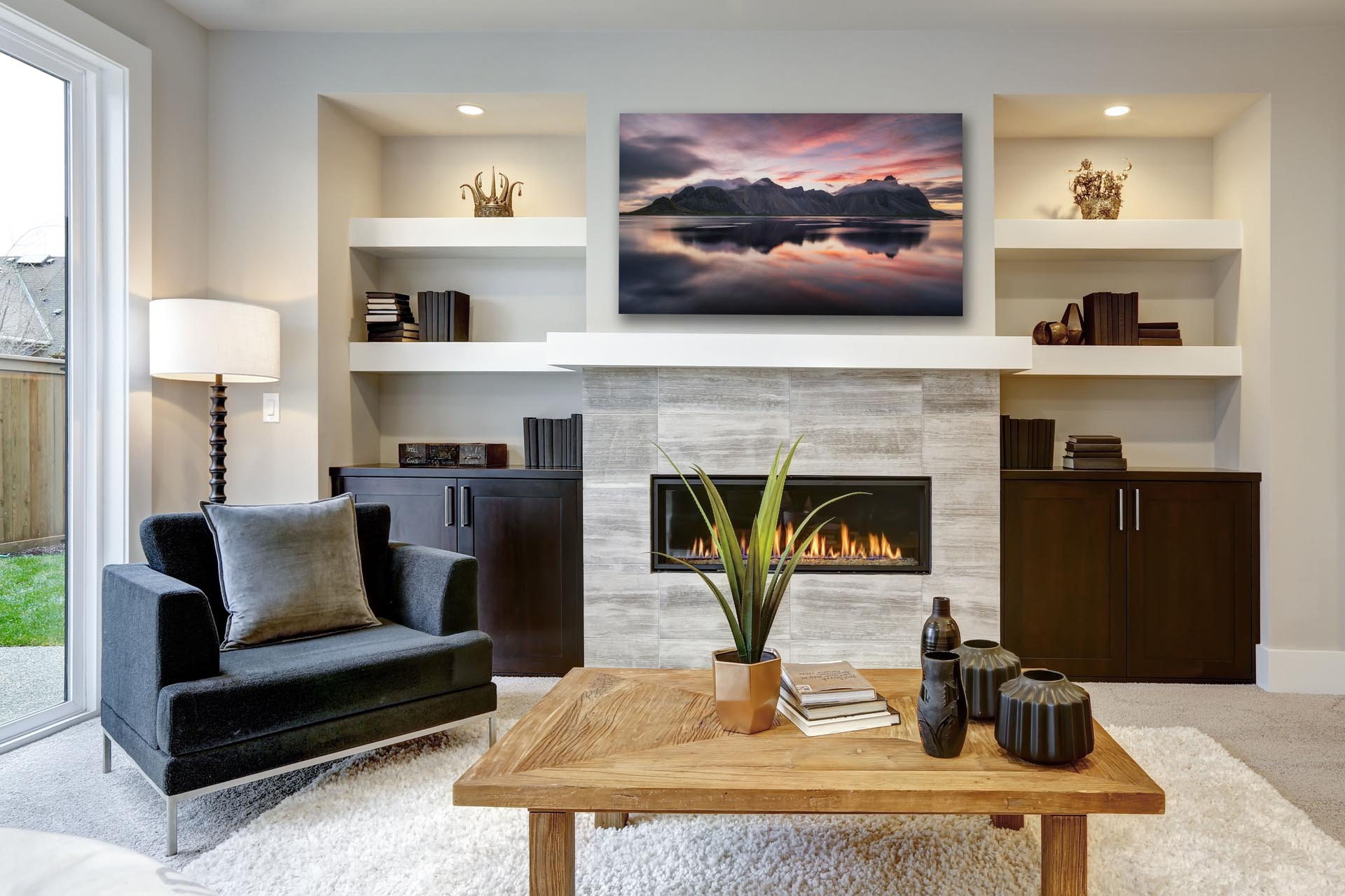 Fine art photography print  hanging above mantle in living room