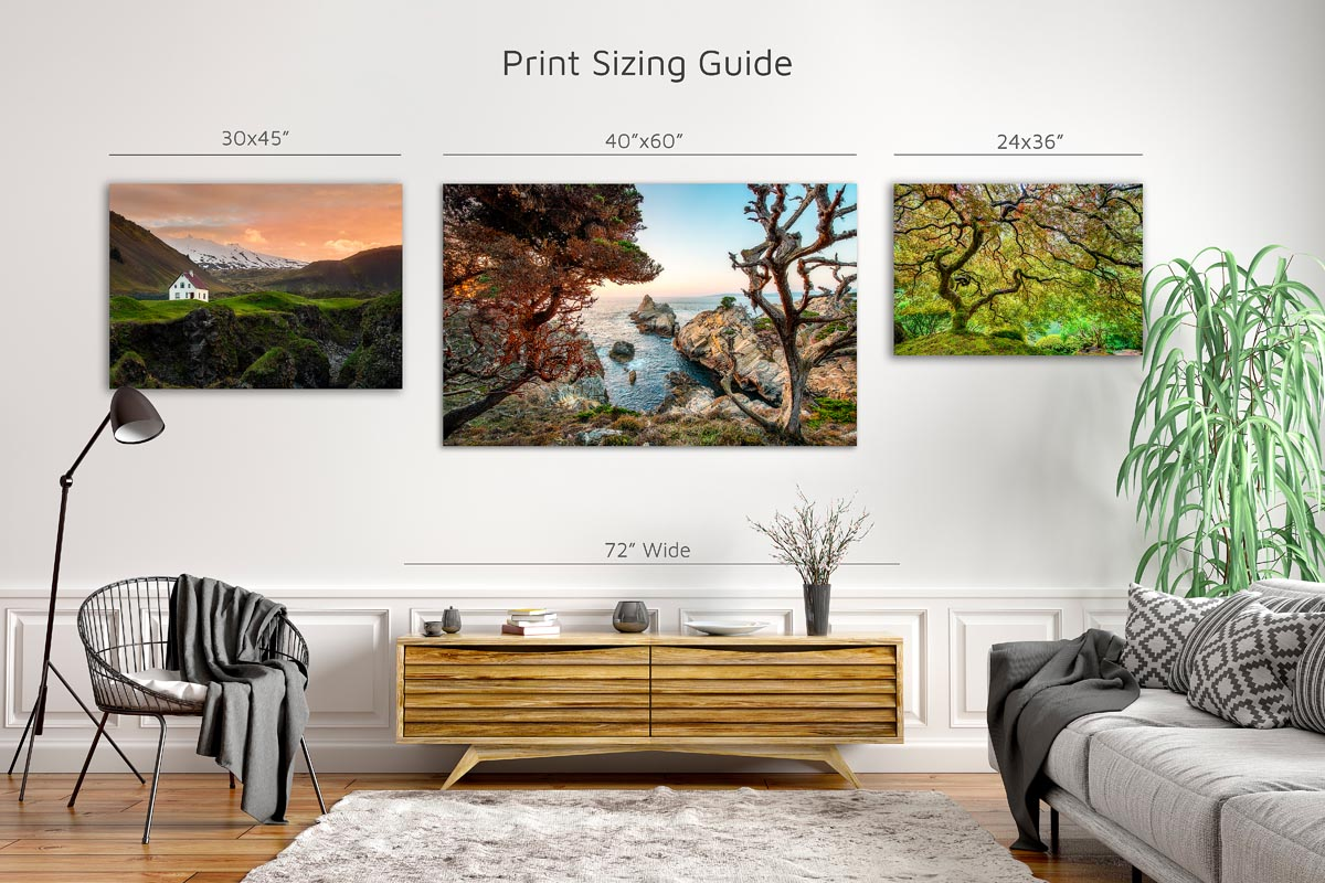 Print sizing guide for Brent Goldman Photography Fine Art Prints