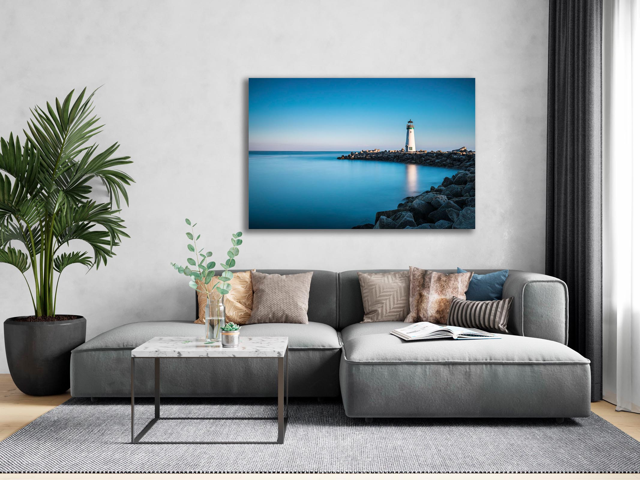 Wall art of Walton Lighthouse in Santa Cruz, California by Brent Goldman Photography