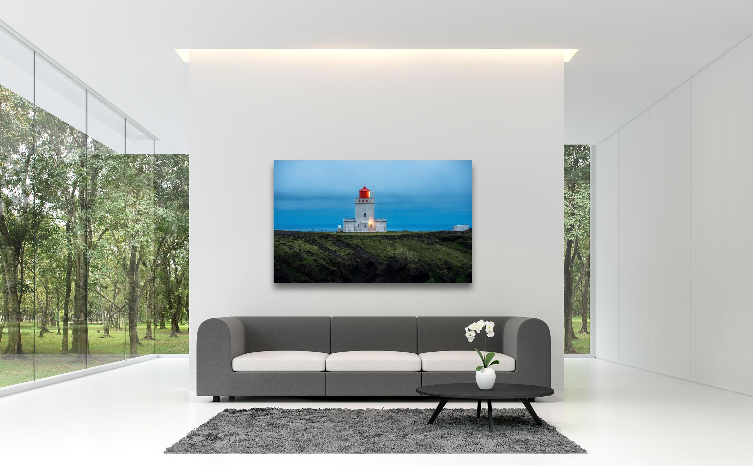 Wall art of Dyrholaey Lighthouse in Vik, Iceland by Brent Goldman Photography