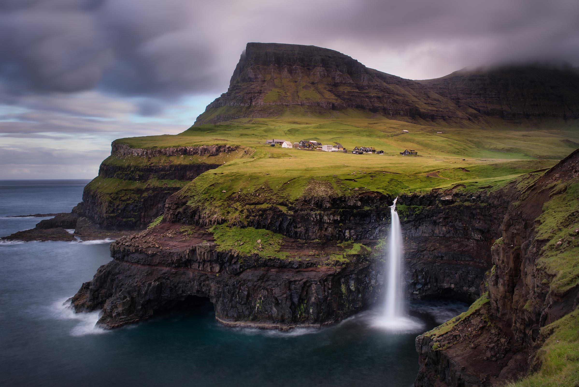 Photograph of Mulafossur Waterfall in Gasadalur, Faroe Islands by Brent Goldman Photography