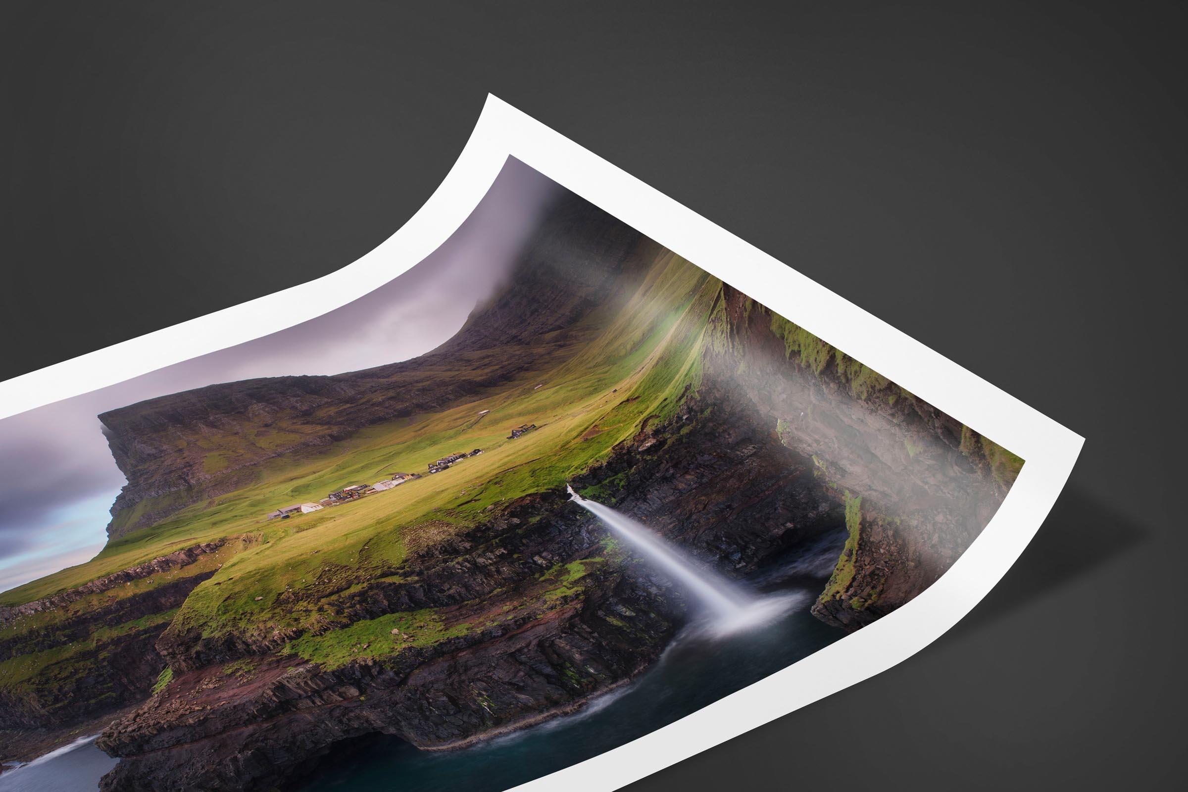 Fine art limited edition print of Mulafossur Waterfall in Gasadalur, Faroe Islands by Brent Goldman Photography