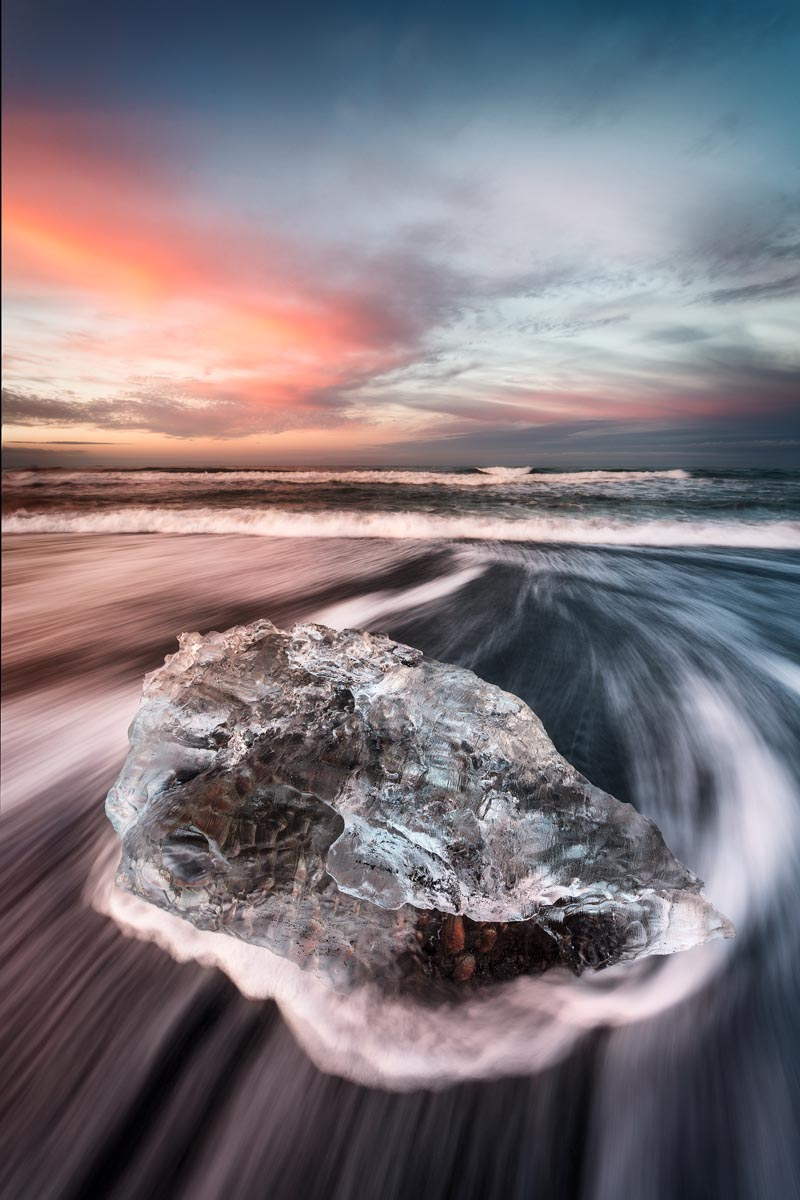 Photograph of Ice Beach in Jokulsarlon, Iceland by Brent Goldman Photography