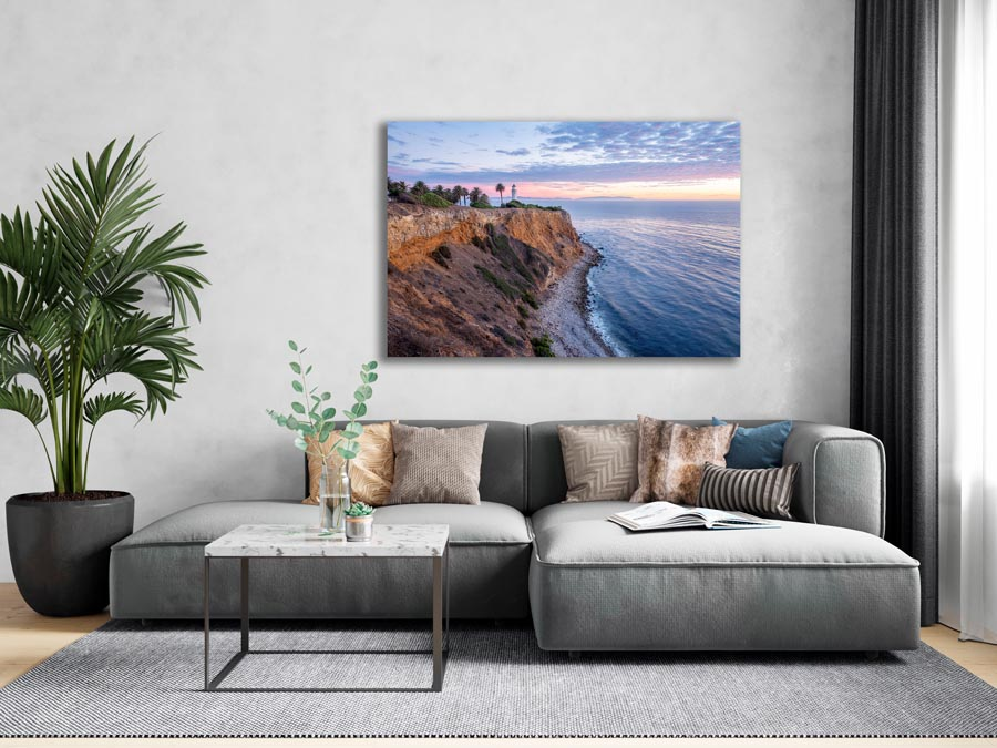 Visual mock-up of Point Vicente lighthouse hanging above couch.
