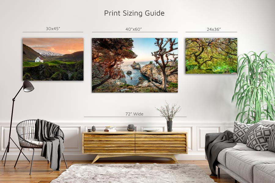 Example print sizes on a wall above a centerpiece.